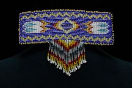 Hand Beaded 'Fireball and Feathers' Barrette