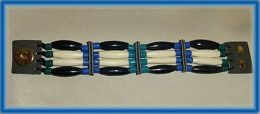 White Buffalo Bone and Black Horn Hairpipe Bracelet Blue and Turquoise Glass Tile Beads