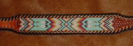 Native American Style Hand Beaded Belt; Feathers and Flames