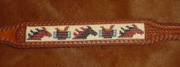 Native American Style Hand Beaded Belt; Horses and Saddles
