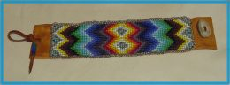 Hand Beaded Soft Deerskin Venetian Glass Seed Bead Bracelet with Applique' Silver Seed Bead Edging, Rainbow Design