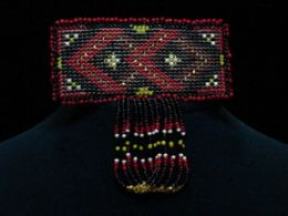 Hand Beaded 'Red Diamonds' Barrette