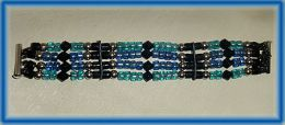 Bracelet with Black, Blue and Turquoise Glass and Sterling Silver Beads on Italian Leather Thong.