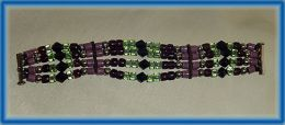Bracelet with Violet, Lavender and Mint Green Glass and Sterling Silver Beads on Italian Leather Thong