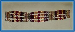 Bracelet with Garnet, Tan and Ruby Glass and Sterling Silver Beads on Italian Leather Thong