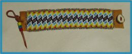 Hand Beaded Soft Deerskin Venetian Glass Seed Bead Bracelet with Applique' Silver Seed Bead Edging, Multicolor Zig Zag Design